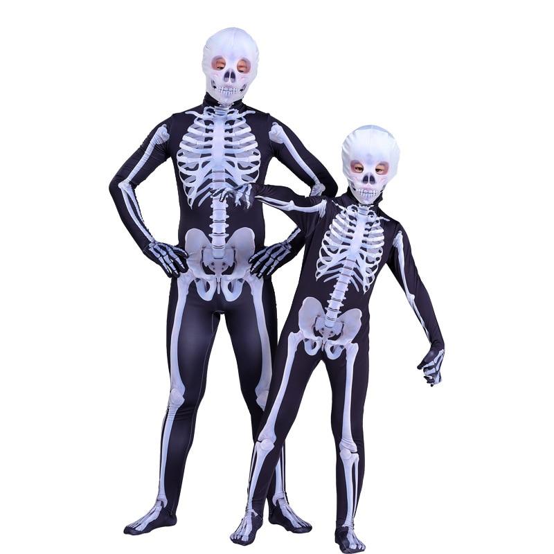 Kids Adult Fortress Night Black Skull Trooper Costume Cosplay Halloween  Carnival Jumpsuit 3D Zentai Bodysuit Skeleton Suit