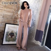 CHICEVER Autumn Women's Suit Two Piece Set O Neck Long Sleeve Knitting Pullover Top Female High Waist Wide Leg Pants Fashion New