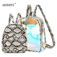 Ladies Fashion 2pcs/set Snake Print Transparent Travel Backpacks For Teen Girls Casual Women Shoulder Schoolbag mochila feminina