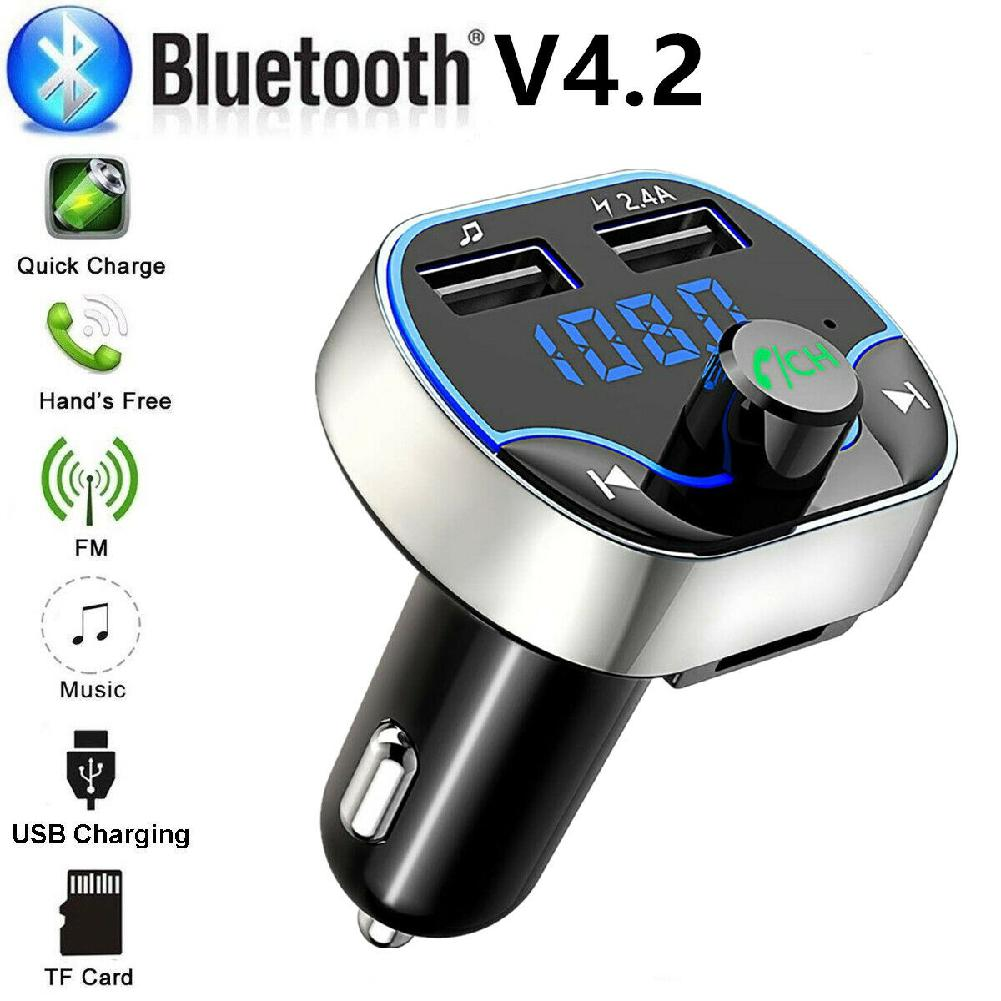 Transmitter Aux Modulator Bluetooth Handsfree Car Kit Car Audio MP3 Player with 3.1A Quick Charge Dual USB Car MP3 Player