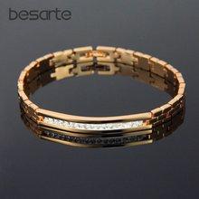 Женский браслет на запястье золотистый с кристаллами b0812