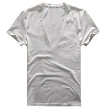2019 New Men Summer t shirt Slim Type Sexy Stretch Solid Color Short Sleeve Deep V-neck T-shirt Male Tops цена 2017