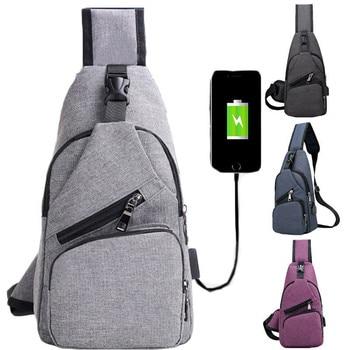 De lona de los hombres creativo de puerto de cargador USB Anti-robo pecho paquete bolsas de viaje mochila hombro bolso de la honda
