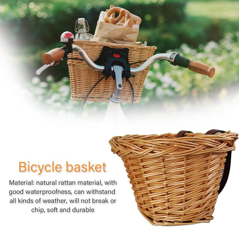 Bicycle Front Basket Retro Handmade Wicker Handlebar Pannier Cycling Carrying Holder Bike Basket Baggage Bag For Child