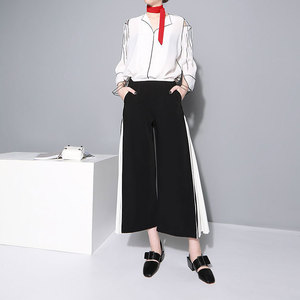 Image 5 - [EAM] 2020 New Spring High Waist Blue Side Pleated Split Joint Hit Color Loose Wide Leg Long Pants Women Trousers Fashion  JF795