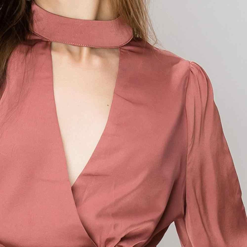MINSUNDA, женская блузка с воротником-чокером, с пышными рукавами, с открытой спиной, Сексуальная Блузка, Женский Топ с завязками на талии, Женские топы и блузка