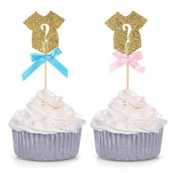 Cake Topper 24 PCS Oro Panno di Colore Forma di Carta Del Bigné Topper Felice Festa di Compleanno Bambini Decorazioni di Nozze Cake Toppers