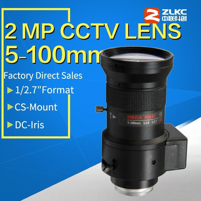 2 mégapixels HD objectif cctv 5-100mm F1.6 1/2. 7