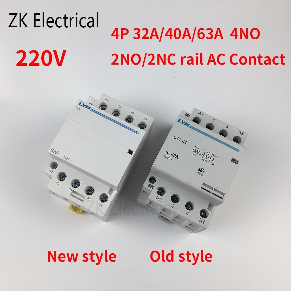 CT1 4P 32A 40A 63A AC Contactor household contactor 220V 4NO 2NO2NC 50/60Hz 35mm din railCT1 4P 32A 40A 63A AC Contactor household contactor 220V 4NO 2NO2NC 50/60Hz 35mm din rail
