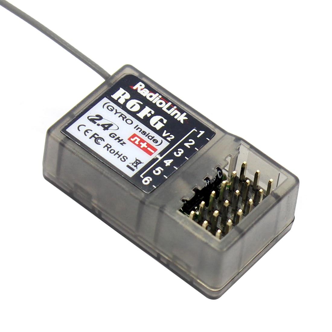 Radiolink r6fg v2 2.4 ghz 6 ch fhss receptor giroscópio de alta tensão integrado para rc4gs rc3s rc4g t8fb rc6gs transmissor rc carro barco