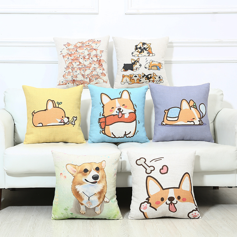 Cartoon Lovely Welsh Corgi Pembroke Dog Print Cushion Cover Sofa Chair Linen Home Seat Decorative Pillow Case New Square Shape