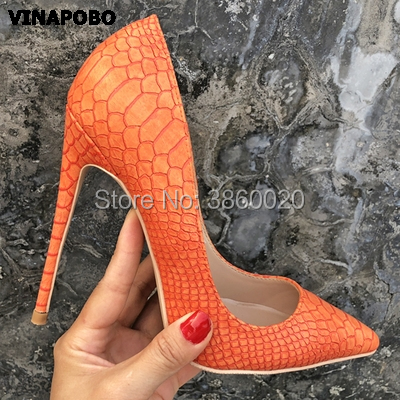 Vinapobo Top Quality orange Snake Printing Pointed Toe Women High Heels 2019 NEW Fashion Party Sexy