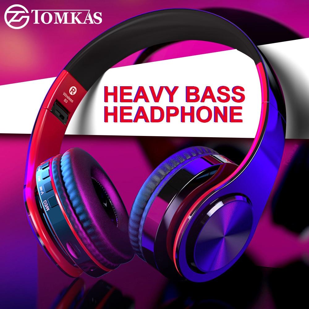 Tomkas bluetooth fones de ouvido estéreo sem fio dobrável fones de ouvido ajustável com microfone/cartão tf para com microfone