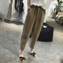 купить Summer Women Cotton Linen Pants Casual Harem Pants Drawstring Elastic Waist Pants Plus Size Female Trousers дешево