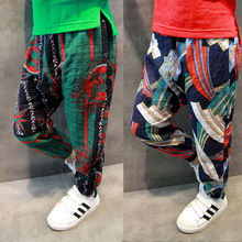 hot deal buy boys pants in the summer on the new cotton mosquito pants bloom pants printed breathable casual feet pants