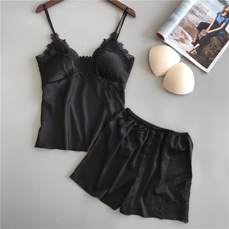 Summer Sexy Lingerie Clothes Set Women Lace Silk Robe Top Shorts 2Pcs Babydoll Nightwear Sleepwear Pajama Set Homewear