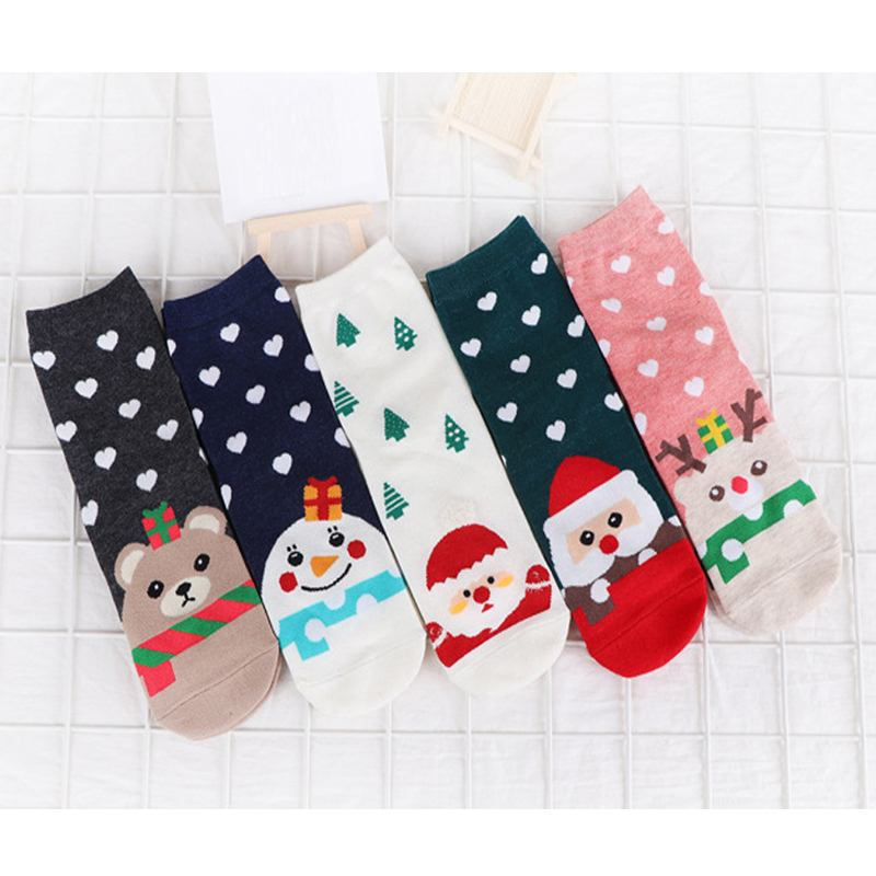 Methodical Christmas Women Lovely Santa Claus Socks 2019 Cute Unisex Cartoon Print Short Socks New Fashion Cotton Girls Tube Soft Socks To Rank First Among Similar Products