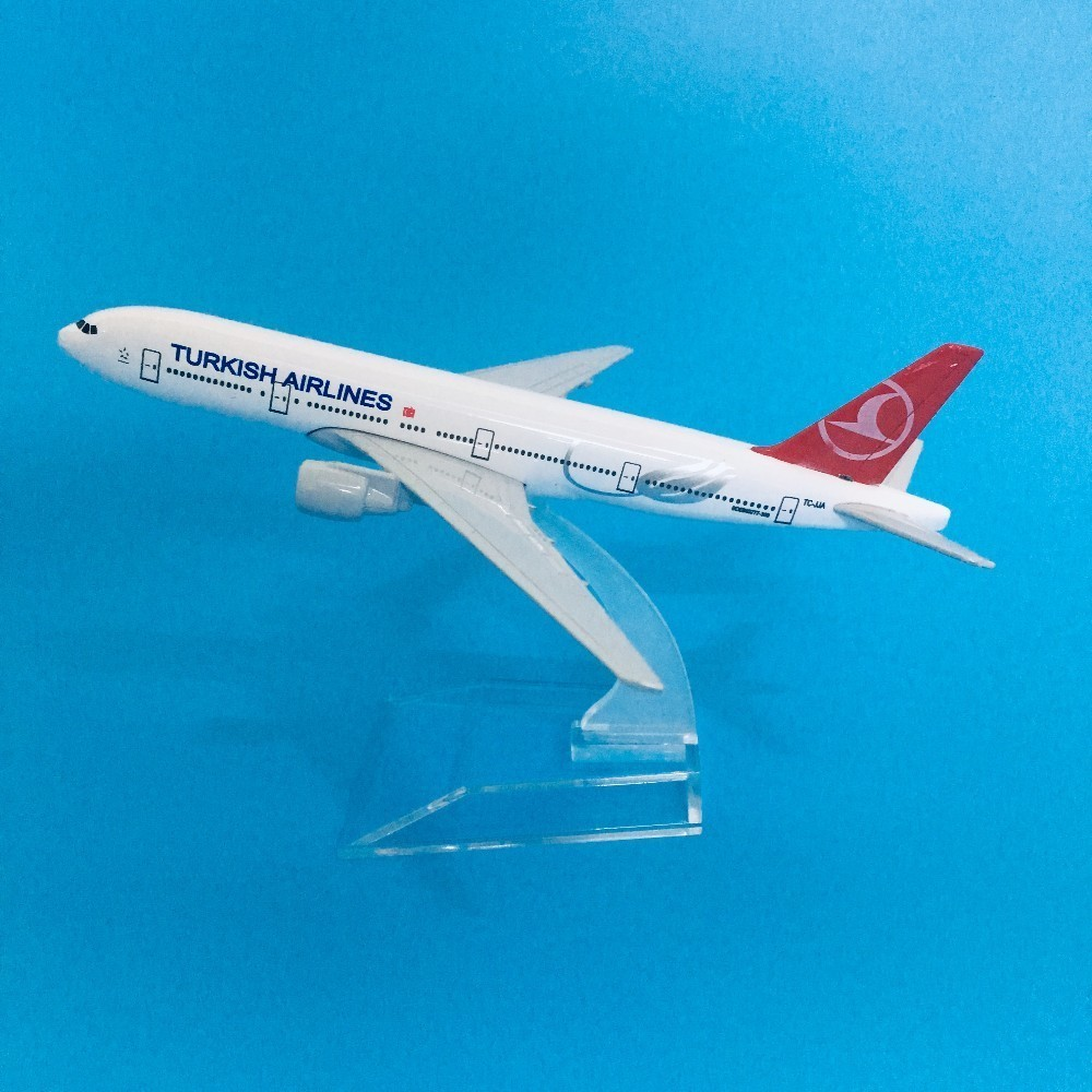 16cm Plane Model Airplane Model Turkish Airlines Boeing 777 Aircraft Diecast Metal Airplanes Model 1:400 Plane Toy Gift Turkey