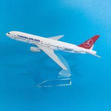 16cm modelo de avião modelo de avião turkish airlines boeing 777 aeronaves diecast metal aviões modelo 1:400 avião brinquedo presente turquia