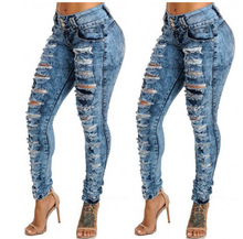 цены Women Sexy Ripped Hole Denim Jeans Femme High Waist Skinny Slim Pencil Pants Plus Size Jean