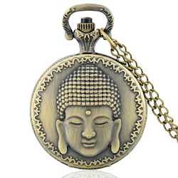 Буддизм тема Полный Охотник кварцевые выгравированы Fob ретро кулон карманные часы цепи подарок пожарный тема