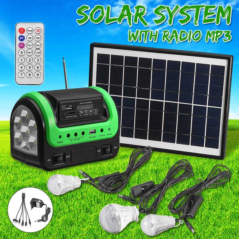 Solar Panel Charging Generator System Solar Power Panel Generator Kit with MP3 Radio Outdoor Flashlight Mobile Power Supply|Solar Lamps|Lights & Lighting - title=