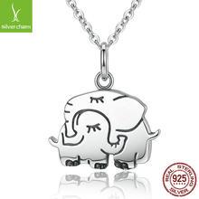 d229763ba2f2 De moda genuino 925 plata esterlina elefante lindo abrazo colgante collares  para las mujeres joyería S925