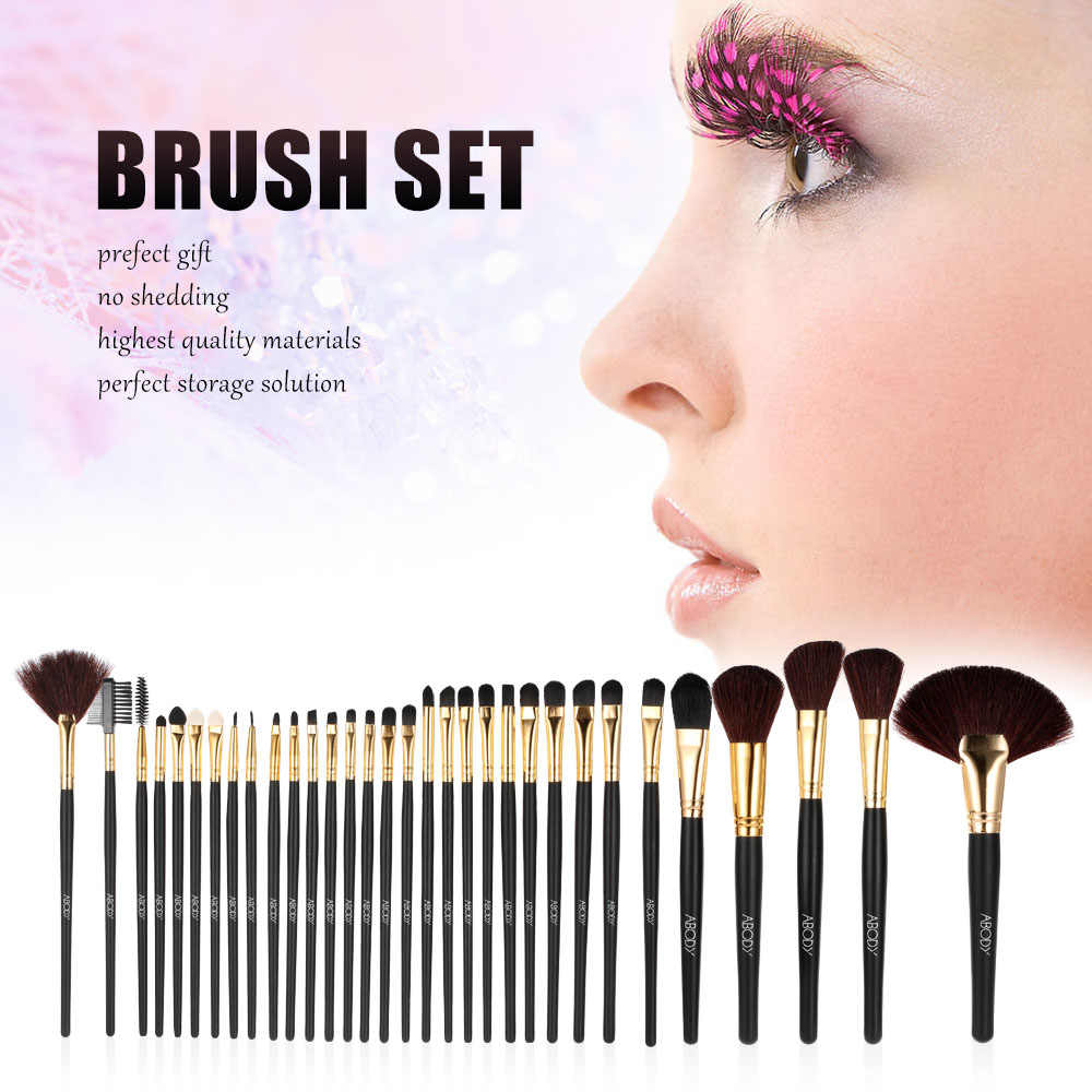 32 Pcs Madeira Pincéis de Maquiagem Kit Professional Cosmetic Make Up Set Com PU Bolsa De Couro Bolsa