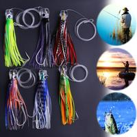 6 Pusher Style Marlin Tuna Trolling Lures with Mesh Bag Resin Head Trolling Skirts Lure Big Game Trolling Fishing Bait Promotion