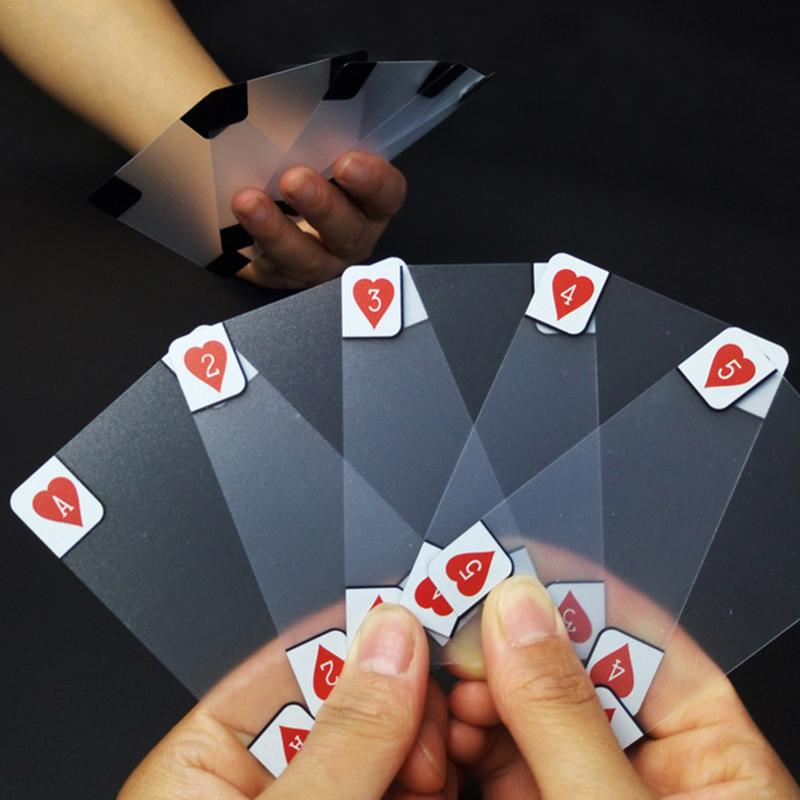 Plastic Playing Card Creative Transparent Crystal Waterproof PVC Poker Cards Sets Family Fun Game Magic Tricks Tool 5.7*8.8 Cm