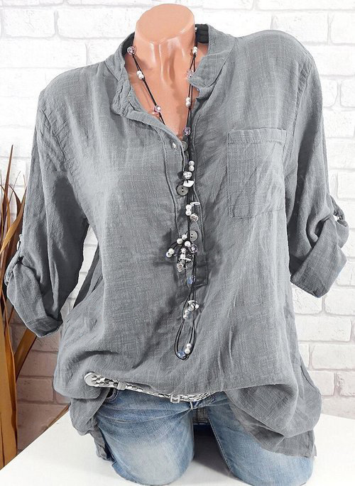 a742dc5da6e2c Large size Women s Blouse 2019 new long sleeve V-neck button top solid  color casual