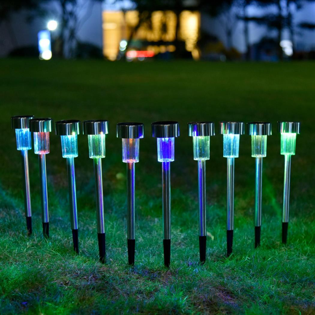 12pcs lot LED Stainless Steel Solar Power Lawn Lamp Light For Garden Decorative 100 Solar Power