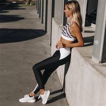 Active Women Sport Gym Suit Striped Pacthwork Two Piece Bra+leggings Ensemble Jogging Exercise Clothing For Women Jumpsuit Mujer цена 2017