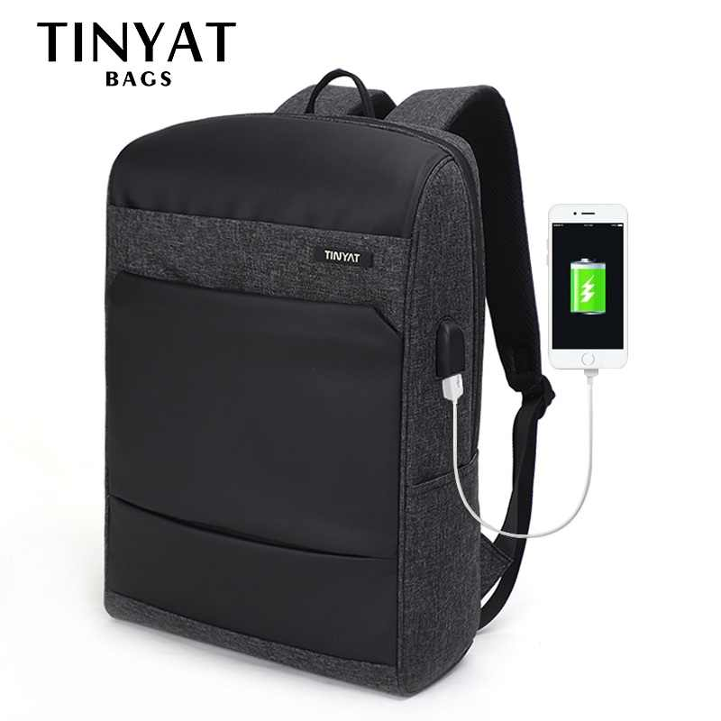 TINYAT Men Male Laptop Backpacks for 15.6 USB Computer Bag Man's Daypack Travel Backpack School Bag backpack mochila Escloar
