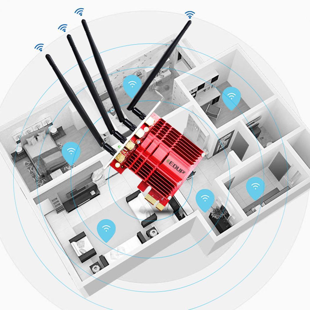 Mini carte réseau d'ordinateur sans fil PCI-E comme image WiFi IEEE 802.11ac/IEEE 802.11n/a/b/g 5dBi x 4 adaptateur