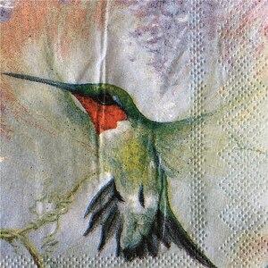 Image 4 - 25 cm 20 giấy tissue khăn ăn dễ thương Hummingbird hoa khăn tay dầu thủ công decoupage cô gái boy kid đảng đám cưới khăn ăn deco