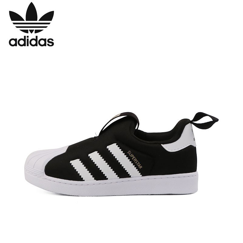 Adidas Kids Shoe New Arrival Clover Toddler Black And White Shell Head Sneakers S82711
