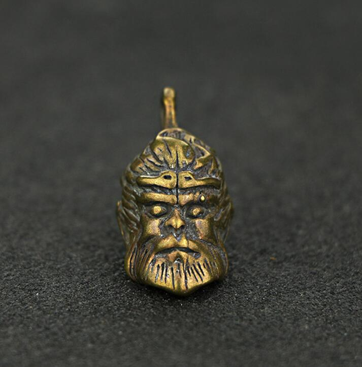 Antique Chinese Mini Brass Carved Gibbon Monkey Collectibles Statue Pendant Key