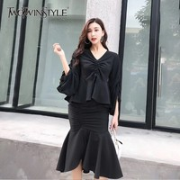 TWOTWINSTYLE Drawstring Ruched Two Piece Set V Neck Ruffles Top High Waist Asymmetrical Bodycon Skirt Women Suits Spring 2019