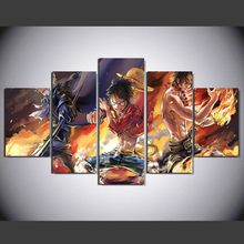 5 Panels Cartoon One Piece Luffy Sabo Ace Modern Home Wall Decor Canvas Picture Art HD Print Painting On Canvas For Living Room(China)