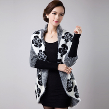New Autumn Spring  Women Sweater Cardigans Casual Warm Female Knitted Flower Cardigan Lady