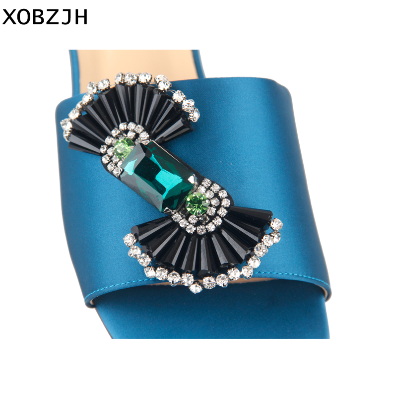 Luxury Paris Women Summer Shoes Flat Sandals 2019 Fashian Rhinestone Ladies Party Leather Blue Slippers Shoe Woman Big Size US11 in Women 39 s Sandals from Shoes