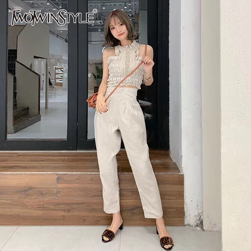 TWOTWINSTYLE Casual Solid Women Suit Halter Off Shoulder Ruffles Short Tops High Waist Loose Pants Two