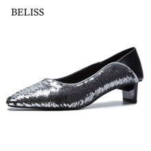 BELISS 2019 Fashion Woman Pumps Spring Lady Shoes Genuine Leather Pointed Toe Slip-On Shallow Party Wedding X9