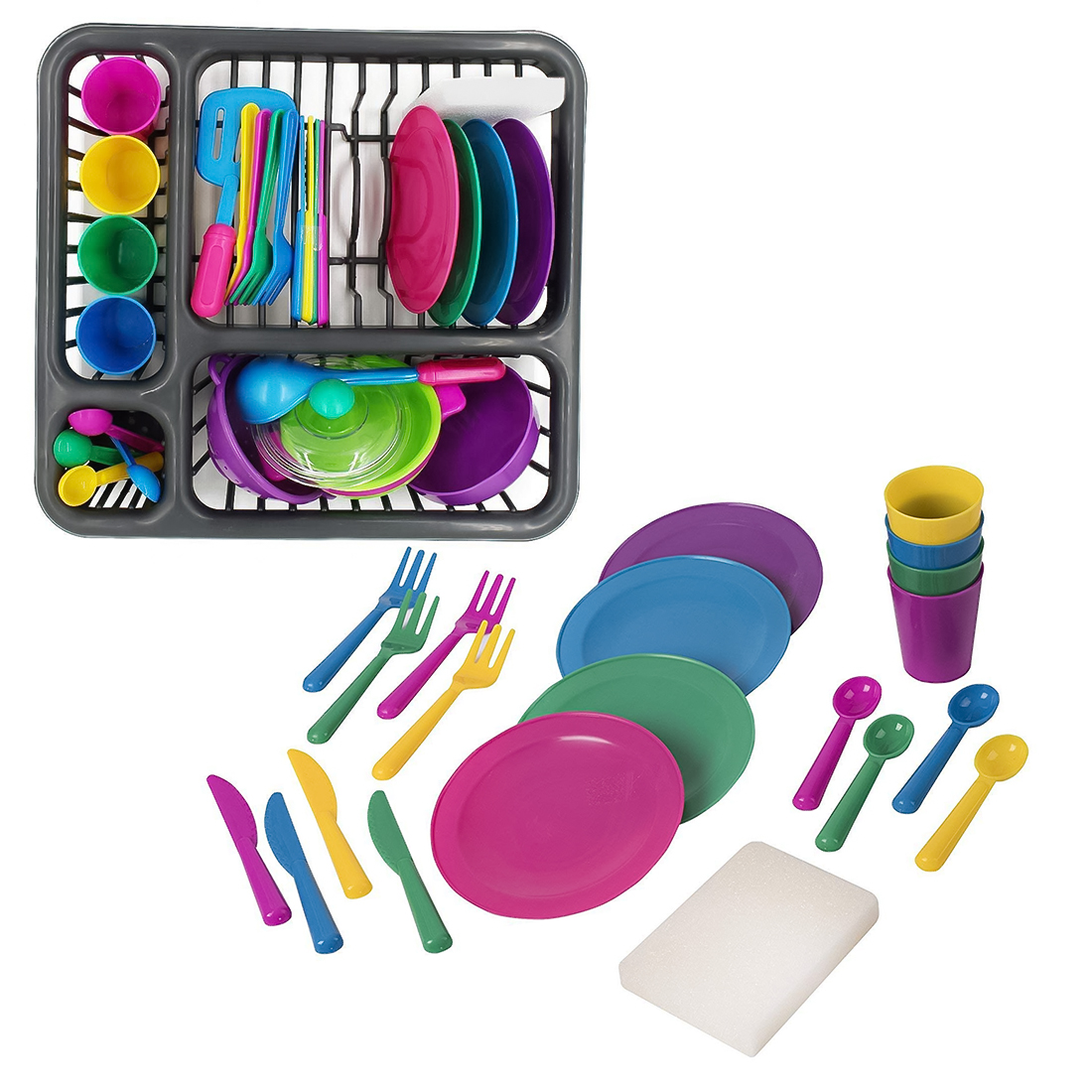 28Pcs Children Play & Pretend Toys Educational Kitchen Cooking Tableware Playset- Color Random