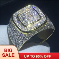 Красивое мужское кольцо в стиле хип хоп Pave Setting 274 шт AAAAA Cz Желтое золото заполненное 925 Серебрянное обручальное кольцо для мужчин вечерние юв