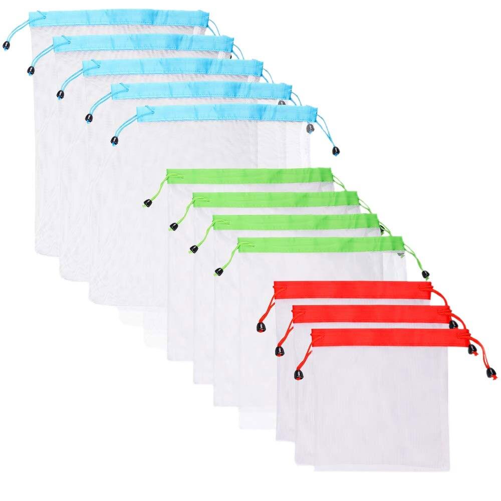 Abdb-reuable Produzieren Taschen 12 Paket, Mesh Einkaufstaschen Sehen-durch, Leichte Festigkeit Waschbar Eco Freundliche Mit Tara Gewicht Modische Muster