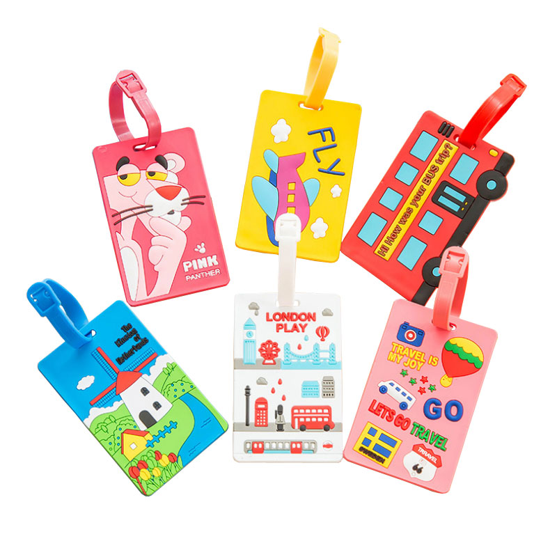 10 Pcs/lot Cute Cartoon Animal Prints Silica Gel Travel Luggage Tag Travel Accessories Baggage Boarding Tags Portable Label