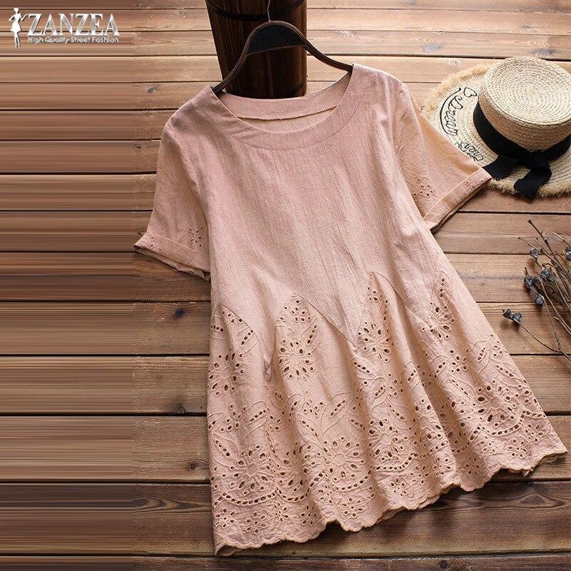 2020 ZANZEA Plus Size LinenTop Women Blouse Female Short Sleeve Shirt Casual Tunic Top Embroidery Ruffle Summer Work Blusas 5XL