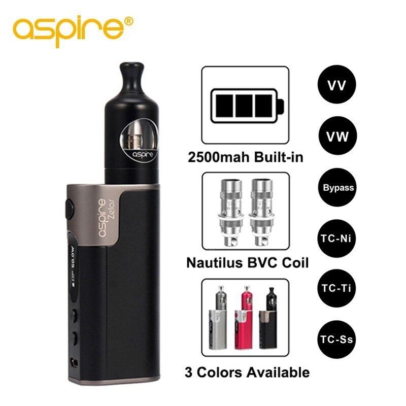 Электронная сигарета Aspire зелос 50 Вт Starter Vape комплект 2500 мАч батарея MTL электронной сигареты 2 мл Nautilus Бак с 0.7ohm 1.8ohm BVC катушки